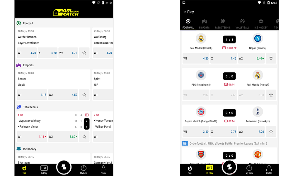 Parimatch Mobile Application for Android